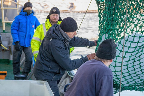 Inspecting iceberg in the field for Svalbarði to ensure it meets proper iceberg water taste characteristics and quality standards