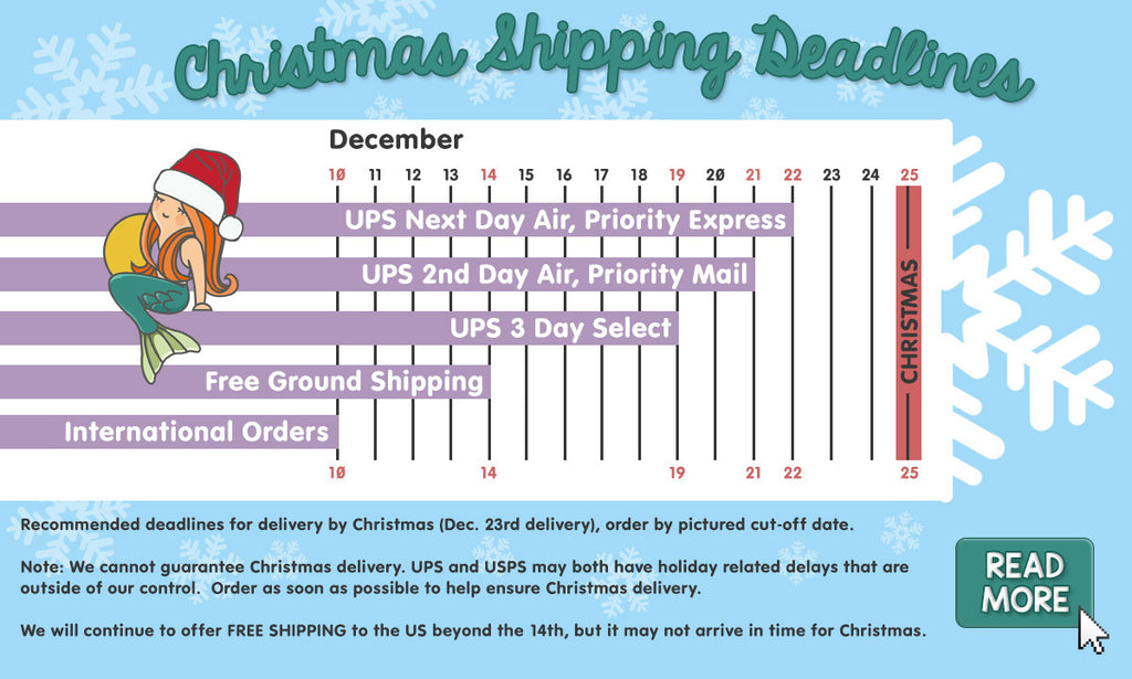 Christmas Shipping Deadlines for a Very Mermaid Christmas