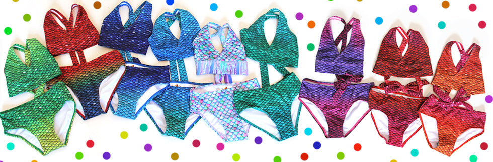 Mermaid tops and bottoms bikinis and tankini swimsuits swimming suits