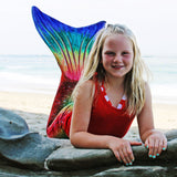 swimmable mermaid tail in rainbow 3D scale design