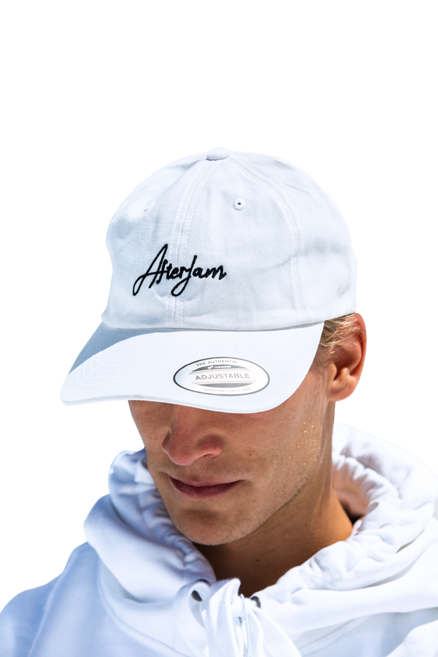 Scripted Dad Cap | White