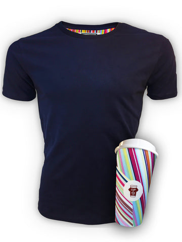 Deep Blue, Lined, Brushed Cotton, Plain, Cup & Tee T-Shirt and Mug