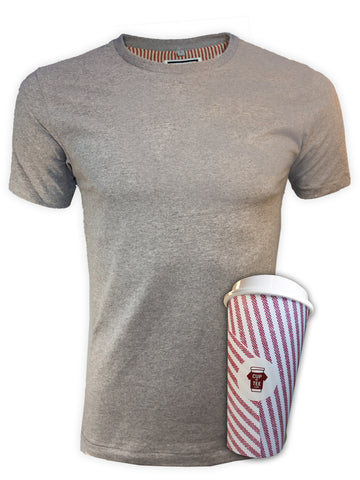 Grey, Lined, Brushed Cotton, Plain, Cup & Tee T-Shirt and Mug