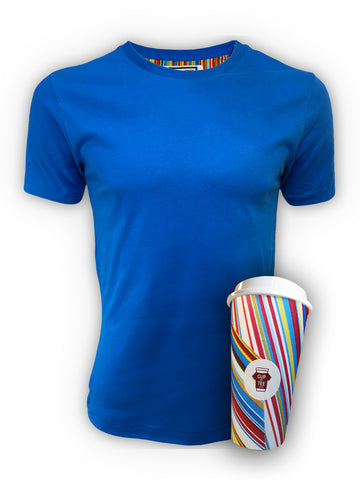 Blue, Lined, Brushed Cotton, Plain, Cup & Tee T-Shirt and Mug