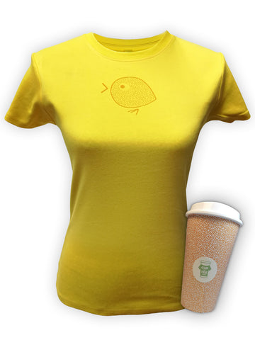 Womens Yellow Full of Life Chick, Limited Edition, Cup & Tee T-Shirt and Mug