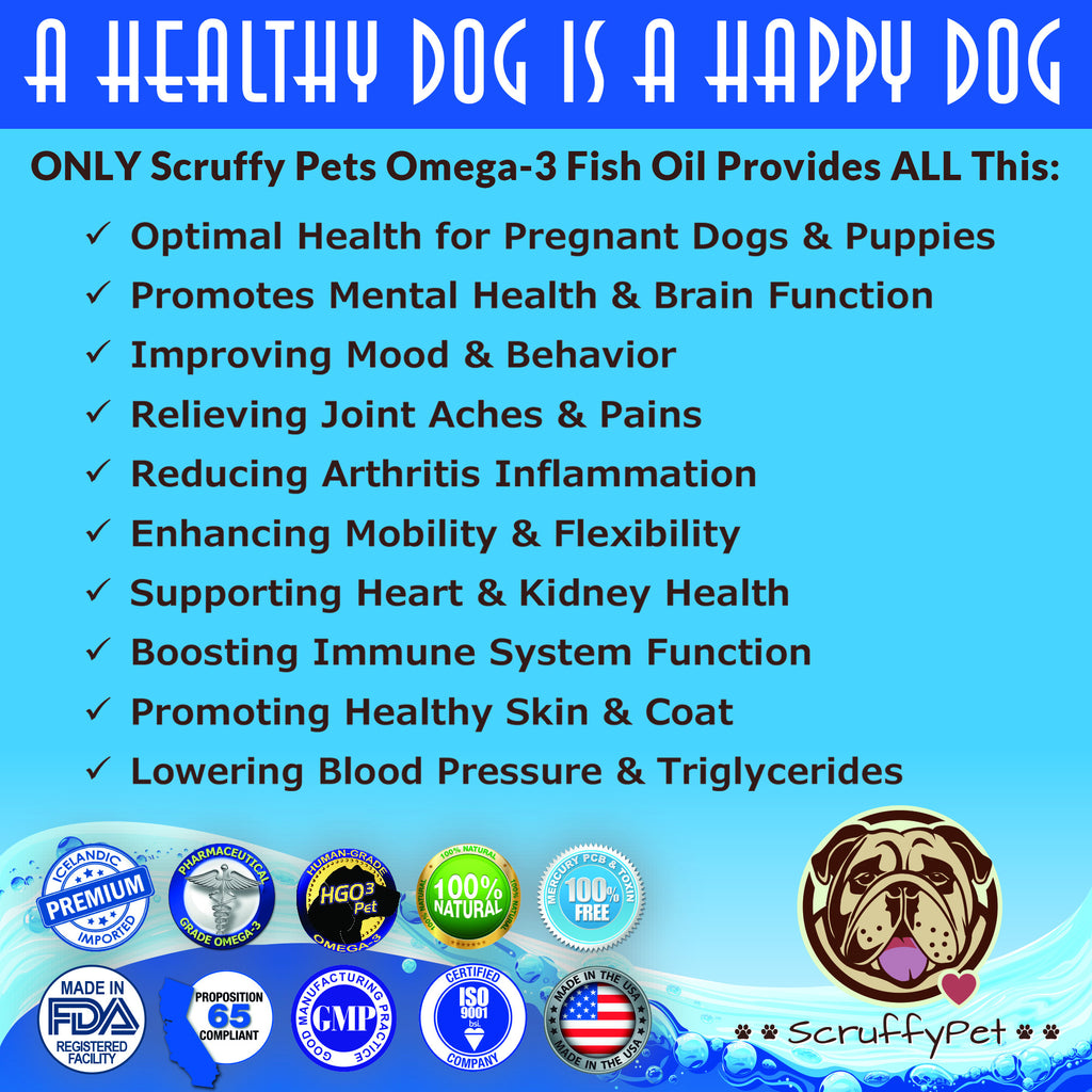 ScruffyPet Pure Omega 3 Fish Oil For Dogs - 180 Softgels