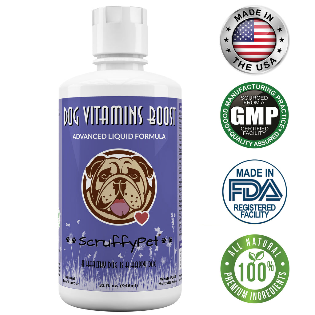 ScruffyPet Whole Food Liquid multivitamin & Mineral Supplement w/ Glucosamine-MSM For Dogs 32oz