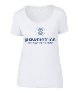 Women's Scoop Neck White T-Shirt - Pawmetrics Colour Logo