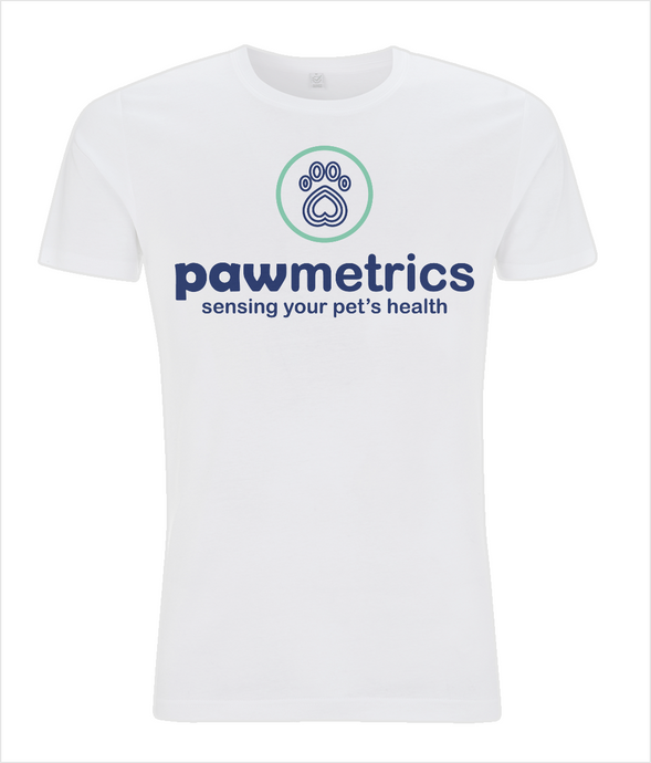 Men's Slim Fit Jersey White T-shirt  - Pawmetrics Colour Logo