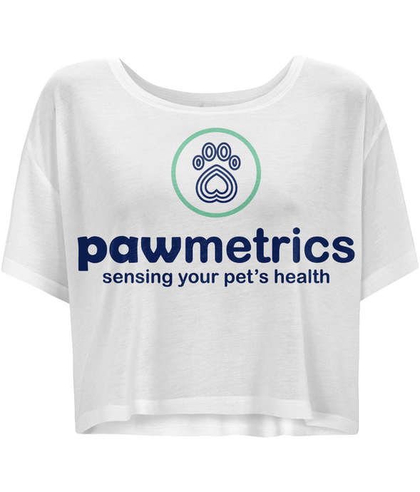 Women's Flowy Boxy White T-Shirt - Pawmetrics Colour Logo
