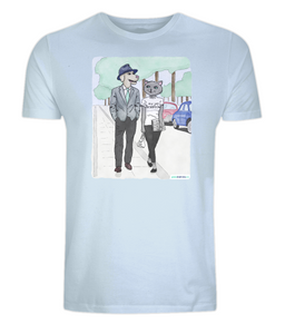 cat shirt dog shirt T-shirt french movie breathless men shirts light blue