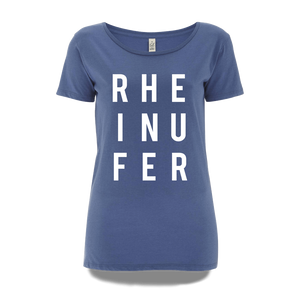 RHEINUFER Letter T-Shirt Girls - S / Denim/Weiß