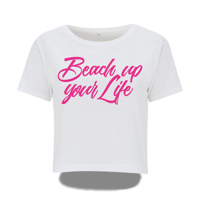 Extra kurzes Beach up your Life Shirt Damen - Weiß / S