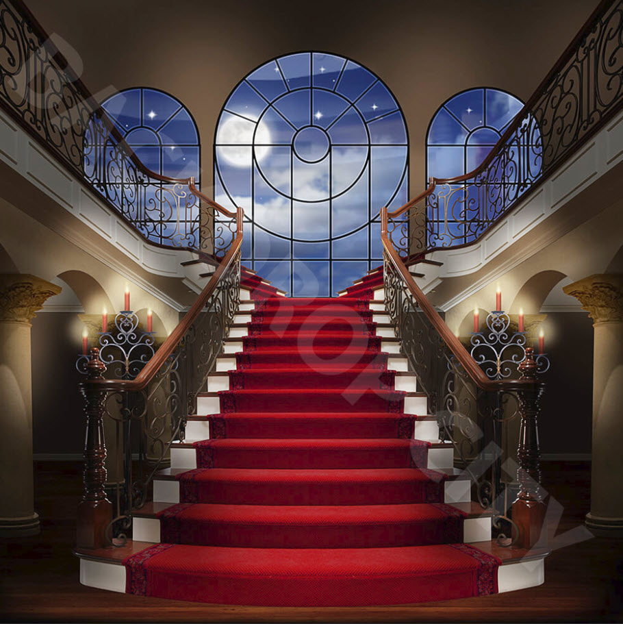 Red Carpet Evening Stair Backdrop Backdrop City