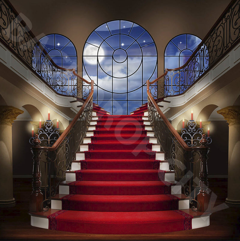 Red Carpet Evening Stair Backdrop