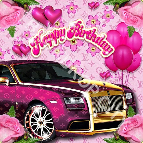 Pink Birthday Computer Printed Backdrop - Backdrop City