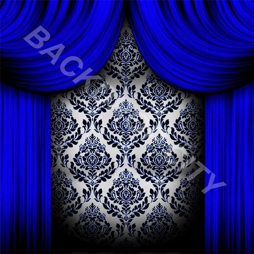 Blue Drapes Computer Printed Backdrop - Backdrop City