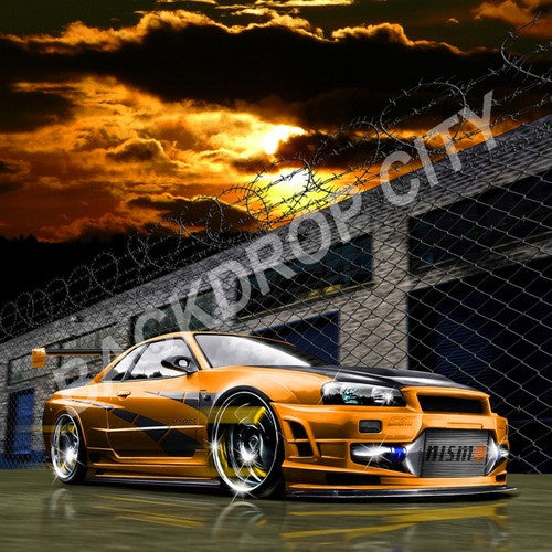 Orange Sunset Computer Printed Backdrop - Backdrop City
