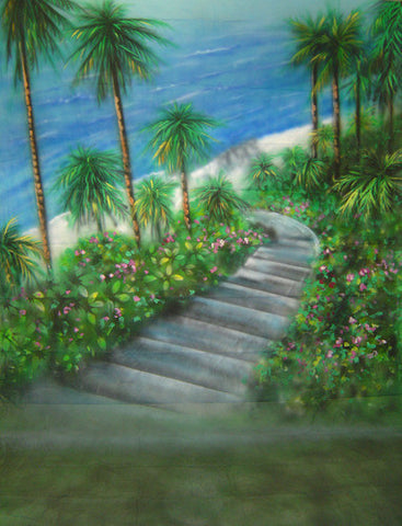Tropical Path Scenic Computer Printed Backdrop - Backdrop City