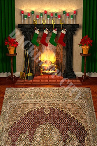 Urban Noel Fireplace Computer Printed Backdrop - Backdrop City