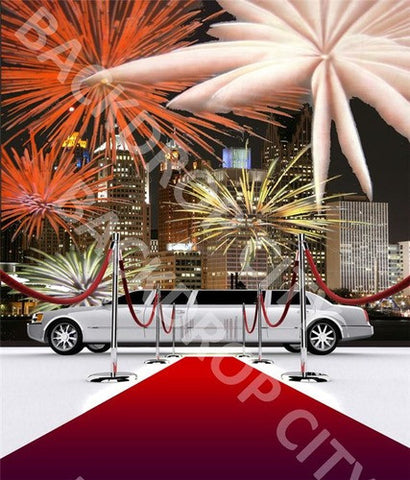Fire Works Limo Computer Printed Backdrop - Backdrop City