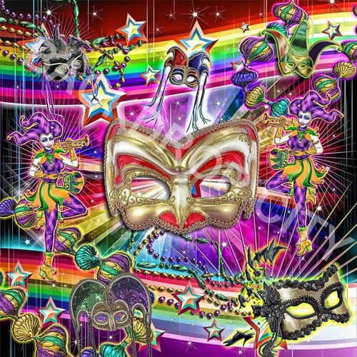 Mardi Gras Masks Computer Printed Backdrops - Backdrop City