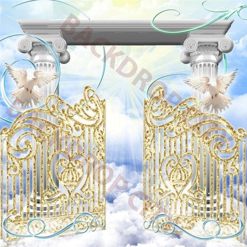 Heavenly Pearly Gates Computer Printed Backdrop - Backdrop City