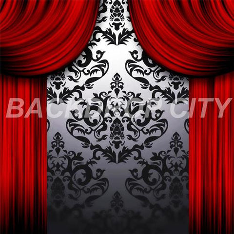 Red Drapes Computer-Printed Backdrop - Backdrop City