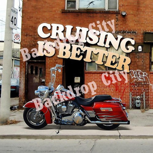 Cruising Motorcycle Computer Printed Backdrop - Backdrop City