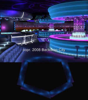 Blue Nightclub Computer-Printed Backdrop - Backdrop City