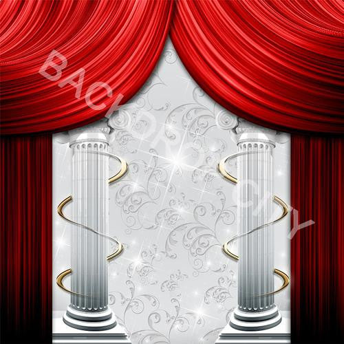 Curtains-Columns Computer Printed Backdrop - Backdrop City