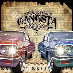 American Gangsta Cars Computer Printed Backdrop - Backdrop City