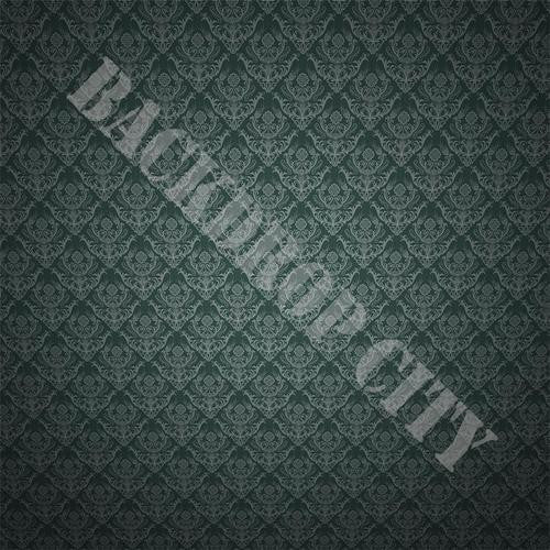 Green-Floral Damask Computer Printed Backdrop - Backdrop City