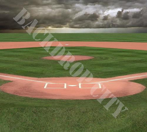 Baseball Diamond Cloud Computer Printed Backdrop - Backdrop City