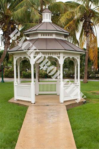 Tropical Gazebo Computer Printed Backdrop - Backdrop City