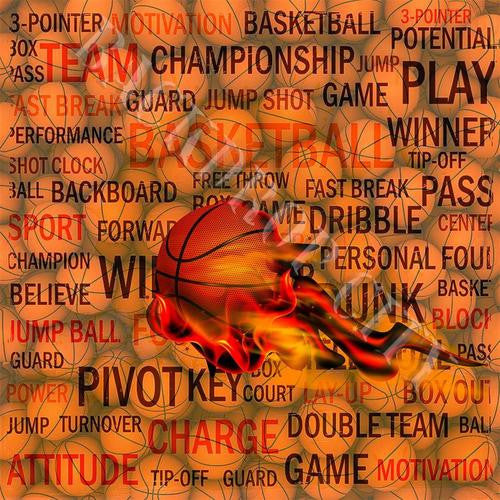 Basketball Terms Computer Printed Backdrop - Backdrop City