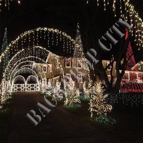 Christmas Light Path Computer Printed Backdrop - Backdrop City
