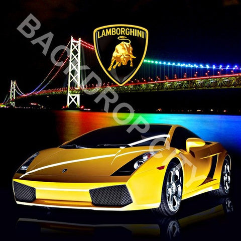 Skyline & Lambo Computer Printed Backdrop - Backdrop City