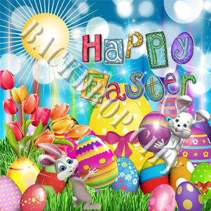 Easter Bunny Eggs Computer Printed Backdrop - Backdrop City