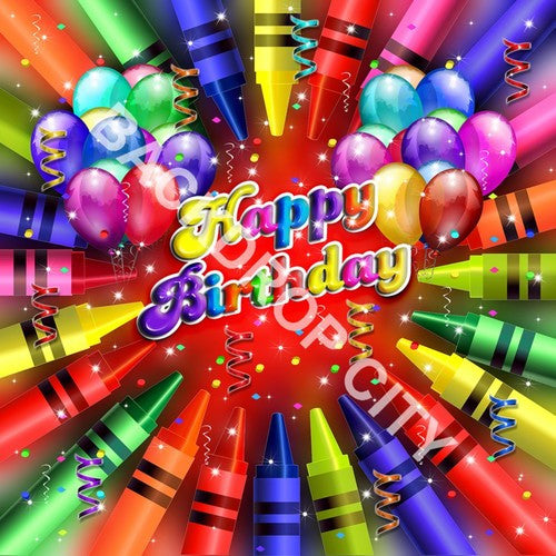 Birthday Crayons Computer Printed Backdrop - Backdrop City