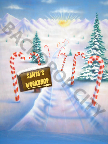 Santa's Workshop Computer Printed Backdrop