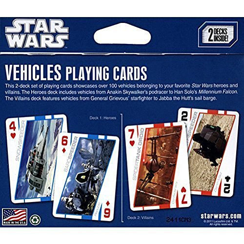 Star Wars Vehicles Playing Cards (2 decks heroes and villans)