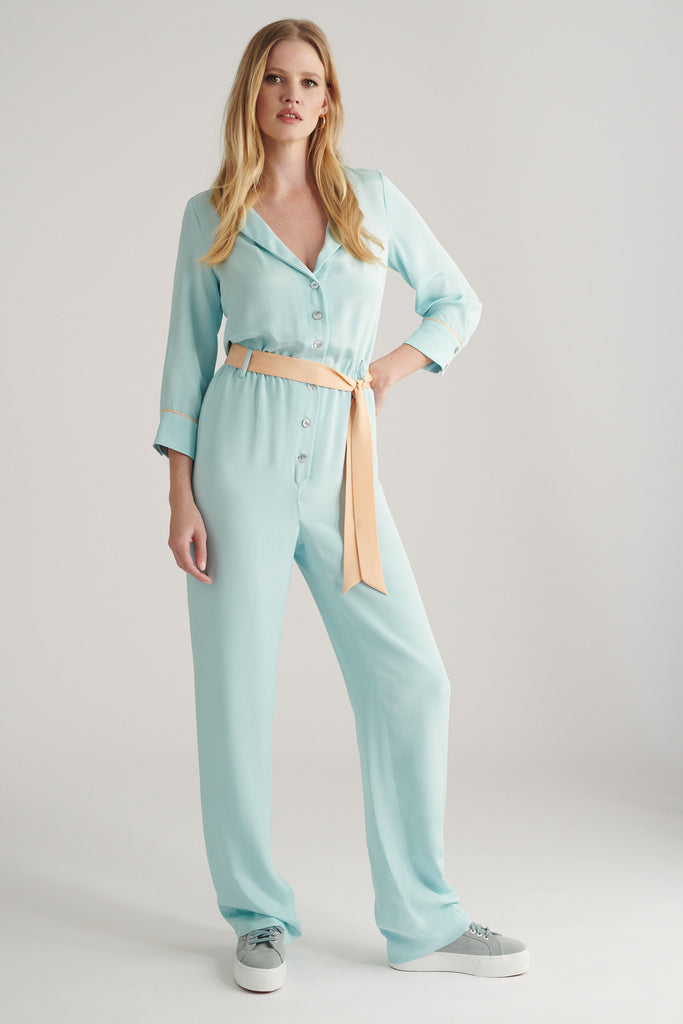 • LARA JUMPSUIT • BLUE & PEACH