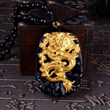 18K Gold Plated Dragon Carved Obsidian (Natural Volcanic Glass-Stone) Dragon Necklace