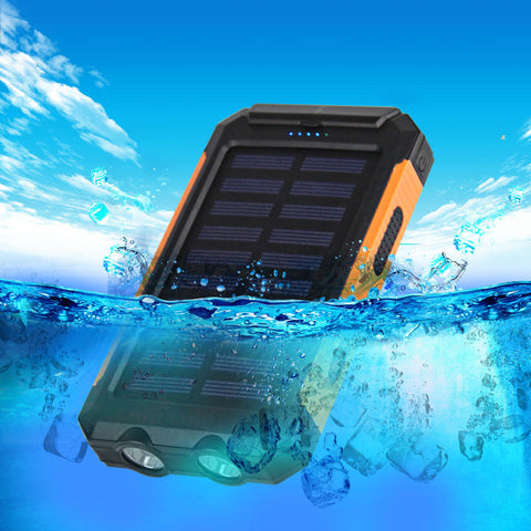 Dual Waterproof Solar Phone Charger  - 10000mAh Dual USB - almost all Phones, iPads & Tablets!