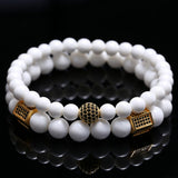 HAND MADE CUSTOM LOTUS (TRIDACNA STONE) - Gold & Silver Bracelet Set