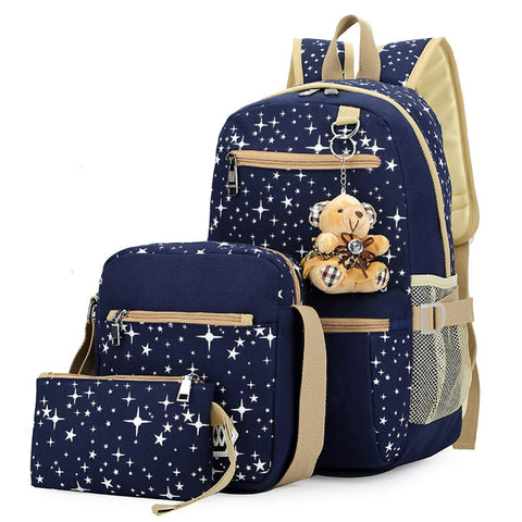 3-PIECE SET! Beautiful Blue Twinkle Canvas Backpack, Purse and Handbag Set!