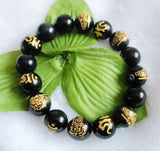 Gold Carved Buddha Bracelet - Black Obsidian (Natural Volcanic Glass-Stone)
