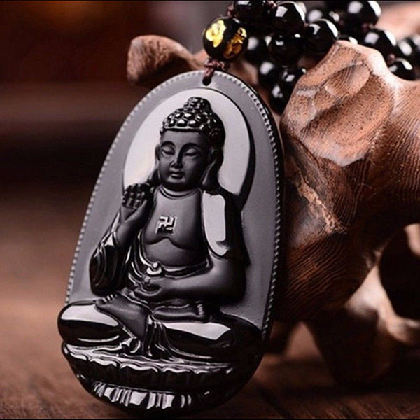 Black Obsidian (Natural Volcanic Glass-Stone) Amitabha Buddha Amulet Necklace