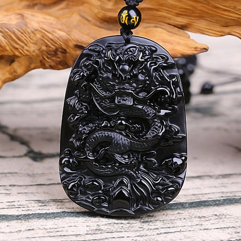 Fine carving Chinese natural black A obsidian carved dragon black  pendant   Amulet Lucky pendant necklace Fashion Jewelry